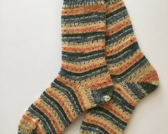 Knitted Ladies' Wool Socks, Opal 6 ply, Hand Cranked