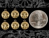 Antiqued Brass Moonface Charms Three pairs of 2   AB-C109