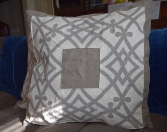 "22"" square trellis pillow cover, gray"