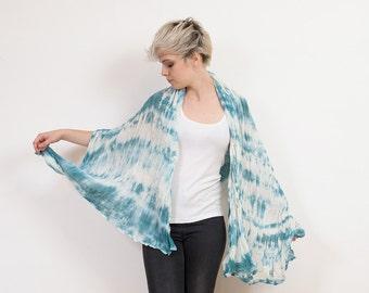 Muslin cotton scarf,  blue scarf