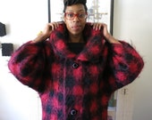 XS, S, M 60's coat, oversized MOD collar, pink and black checkered, wool mohair, from Japan