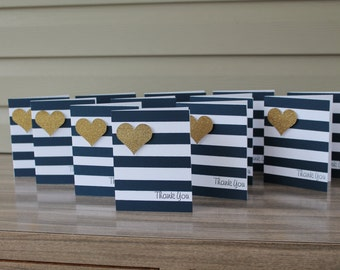 gold/ navy thank you cards