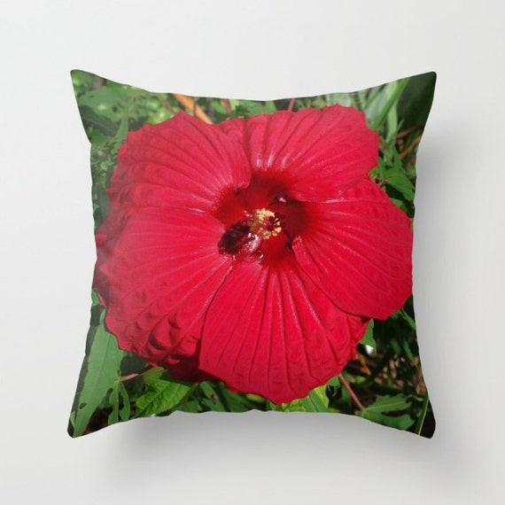 Red Hibiscus Decorative Pillow : Red Hibiscus throw pillow cover Fireball flower