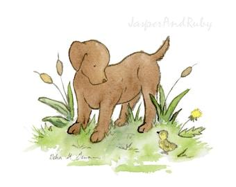 Chocolate Lab Print, Chocolate Lab Art, Labrador Art, Nursery Decor, Children's Wall Art, Labrador Gift, Kid's Puppy Art, Puppy Nursery Art