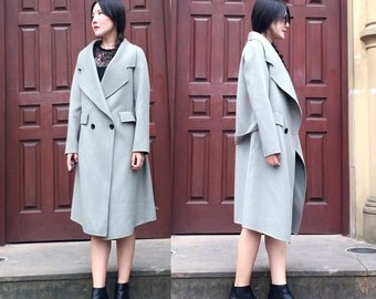 Wide Lapel Double-breasted Belted Winter Coat/ Double-Faced Cashmere and Wool Blend Long Jacket/Elegant /19 Colors / RAMIES