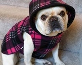 French Bulldog  Frenchie Hot Pink and Black Plaid Fleece Hoodie