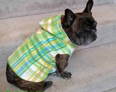 French Bulldog  Frenchie  Lime Green and White Plaid Fleece Hoodie