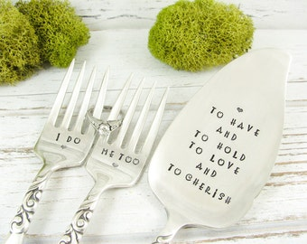 Wedding Cake Server and Forks. To Have and To Hold. I Do and Me Too. Stamped Vintage Silverware. Wedding Gift. 319WED