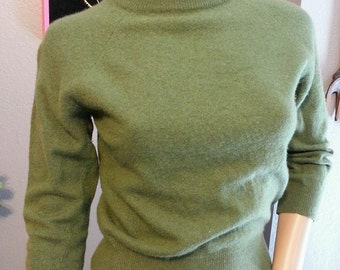 Vintage 50's Parkhurst Green 100% Cashmere Cropped Rockabilly Pinup Sweater XS S