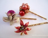 Vintage earring hair clip - Salmon peach maple leaf beaded pearl clusters magenta ceramic orchid red hue decorative jeweled hair accessories