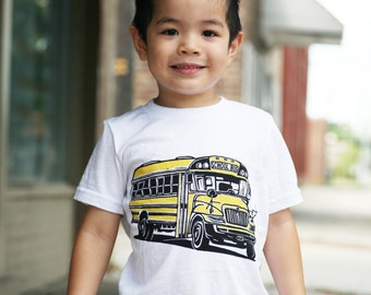Ready To Ship!!!! School Bus on White American Apparel T Shirt