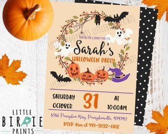 Halloween Party Invitation Halloween Invitation Pumpkin Party Invitation Witch Bat Ghost InvitationPumpkin Carving Party Jack-o-lantern
