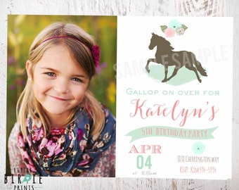 HORSE BIRTHDAY INVITATION - Horse invitation - Horse riding birthday invitation - Cowgirl Birthday Invitation Pony printable file Vintage