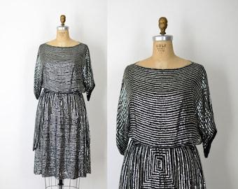 1970s Judith Ann Sequin Dress / 70s Indian Silk Dress