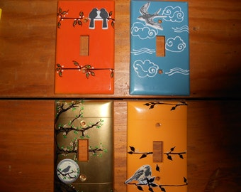 Hand Painted Light Switch Plates: Hand Painted One of a Kind Light Switch Covers,Lighting