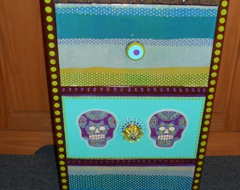 One of a Kind Hand Painted Skull Bed Side Cabinet