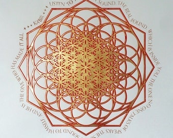 Flower of Life Kabir Illumination - 23k Gold Leaf - Tezhip