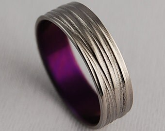 Titanium Ring , Promise Ring , Wedding Band , Titanium Band , Mens Titanium Ring , Womens Titanium Ring ,The Sphinx Band in Mystic Purple