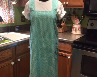 Large Japanese style utility apron, Aqua Anchors print cross back apron, no ties, pinafore, smock