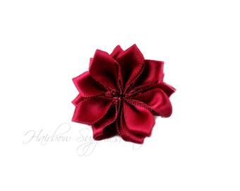 Wine Dainty Star Flowers 1-1/2 inch-Wine Fabric Flower, Wine Silk Flower, Wine Hair Flower, Wine Flowers for Hair, Wine Flowers for Headband