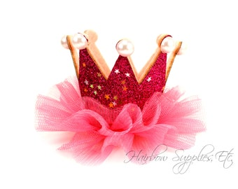 """Hot Pink Princess Crown with Pearls 2"""" by 3"""" -Hot Pink Crown Baby Headband, Hot Pink Glitter Crown Headband, Hot Pink Baby Crown, Pink Crown"""