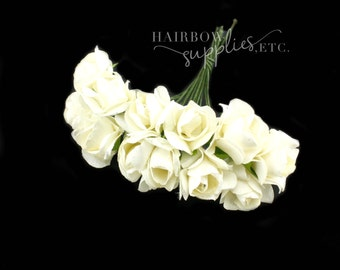Ivory Paper Flowers 3/4 inch - Crown Flower, Headband Flowers, Paper Flower, Wedding Paper Flowers, Paper Flowers with Stems