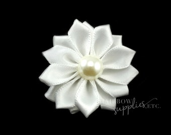 White Dainty Star Flowers with Pearl 1-1/2 inch - White Fabric Flowers, White Silk Flowers, White Hair Flowers, White Flowers for Hair