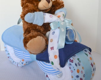 Diaper Cake, Motorcycle Bike Diaper Cake,  Baby Shower Gift, Centerpiece, Sports,  Baby Boy Gift, Teddy Bear, New Baby