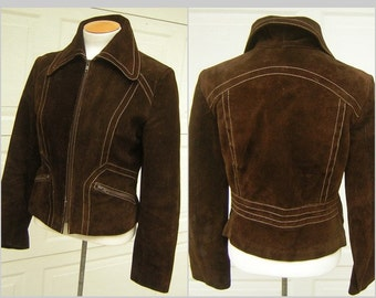 JOFAMA Suede Jacket SWEDEN Real Vintage 70s Dark Chocolate Brown Fitted Biker Cut Womens Size 40