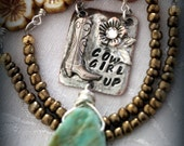 COWGIRL UP necklace, soldered pendant, freshwater pearls, sterling silver wire wraps, gemstone