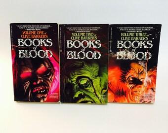 Vintage Horror Books Clive Barker - Books of Blood Vol. 1, 2, 3 1986 Paperbacks