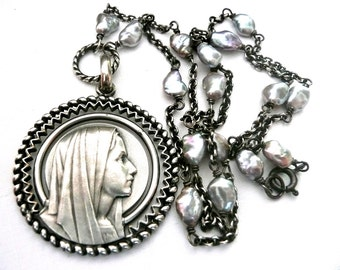 Blessed Virgin Mary Necklace, Religious Mary Necklace, Vintage French Medal
