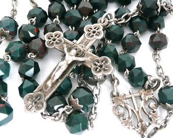 Vintage French Green Stone and Silver Rosary