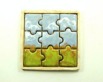Puzzle Tile - Orange Fields