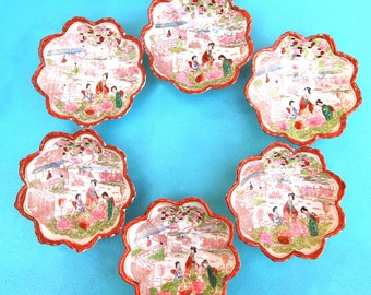 "Vintage Asian Lotus Blossom Bowls Set of Six Hand Painted Orange Rim 5 1/8"" Diameter"
