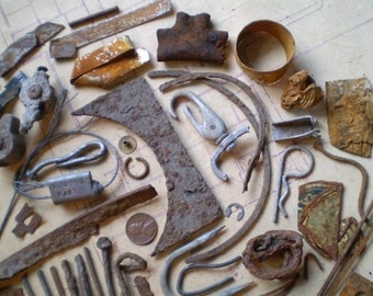 74 Rusty Metal Pieces - Found Objects for Assemblage, Jewelry or Altered Art - Salvaged Supplies
