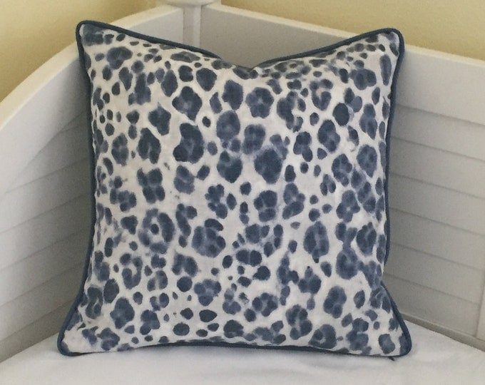 Thibaut Panthera Designer Pillow Cover with Piping - Square, Lumbar and EuroPillow Cover Sizes, Blue and Gray Pillow Cover