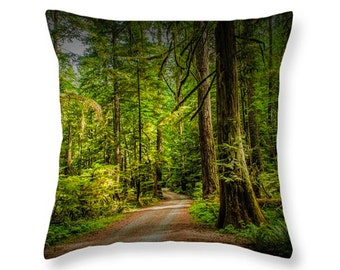 Dirt Road on Vancouver Island in British Columbia Canada through the Rain Forest No.1181 decorative novelty pillow Home Décor cushion cover