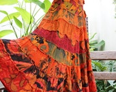 ARIEL ON EARTH - Patchwork Dyed Cotton Extra Long Tiered Skirt - OMEXL1610-13