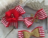 Red stripe clips or headbands