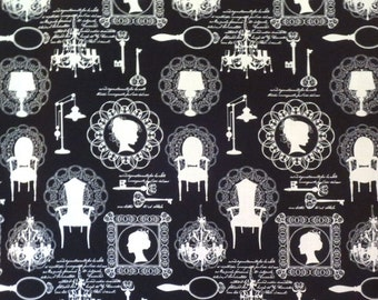 White on Black Silhouette Print Pure Cotton Fabric--By the Yard