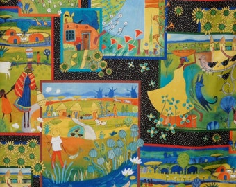 Charming Colorful Family Life African Theme Print Pure Cotton Fabric--By the Yard