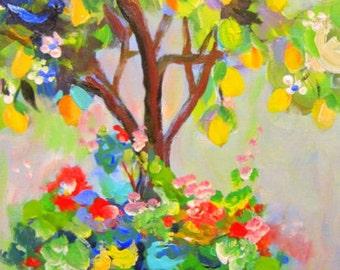 Lemon Tree Landscape with Blue Birds Original painting 12 x 24 Art by Elaine Cory