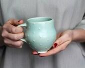 Polka Dot Pottery Mug - Soft sea foam green - Coffee Cup