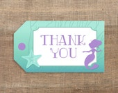 Mermaid Printable Favor Tags, Aqua and Purple Thank You Tags, INSTANT DOWNLOAD