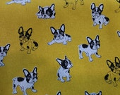 "Sketch, French Bulldog - 3 colors -1 yard - cotton linen,dog fabric, Check out with code ""5YEAR"" to save 20% off"