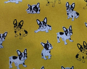 """Sketch, French Bulldog - 3 colors -1 yard - cotton linen,dog fabric, Check out with code """"5YEAR"""" to save 20% off"""