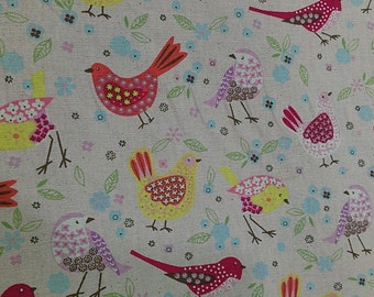 """Beautiful bird - 1 yard - cottom linen - 3 colors, Leaves , cute , Check out with code """"5YEAR"""" to save 20% off"""