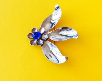 1940's sterling floral brooch - large vintage flower brooch - antique floral brooch - statement floral brooch - vintage 40's floral brooch