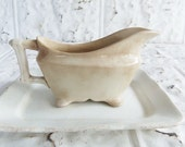 Antique English  White Ironstone . John Maddock for Burley & Co . Gravy Boat and Rectangular Plate